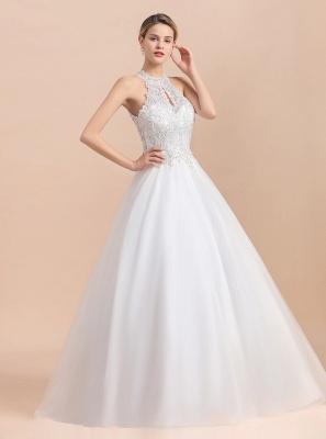 A Line Lace Chiffon Halter White Wedding Dresses Sleeveless_9