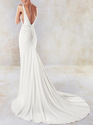 Sexy Mermaid V-Neck Sleeveless Backless Wedding Dress with Side Hollowout_4