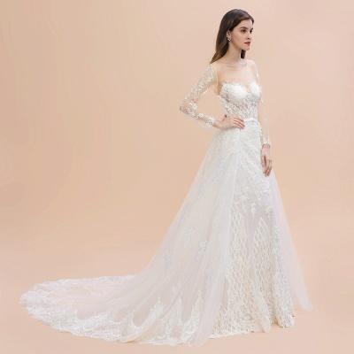 Long Sleeve Jewel Applique A Line Lace Wedding Dresses_10