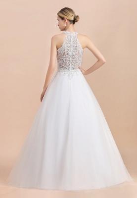 A Line Lace Chiffon Halter White Wedding Dresses Sleeveless_7