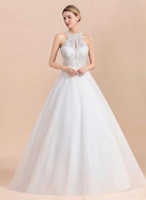 A Line Lace Chiffon Halter White Wedding Dresses Sleeveless_4