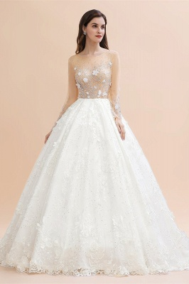 Long Sleeve Jewel Floral A Line Wedding Dresses | Crystal Beading Bridal Gown_2
