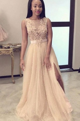 Champagne Jewel Applique Pearls A Line Bridesmaid Dresses For Wedding_2