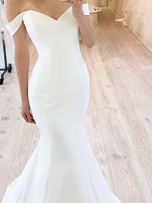 Chic Mermaid Off Shoulder Sweetheart Sleeveless Wedding Dress Online_2