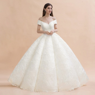 Gorgeous Off The Shoulder Ball Gown Wedding Dress   Lace Backless Bridal Gown_5