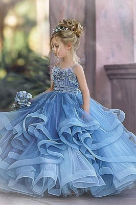 Cute Sequin Ball Gown Flower Girl Dresses   Little Tutu Girls Ruffles Party Dress For Wedding_3