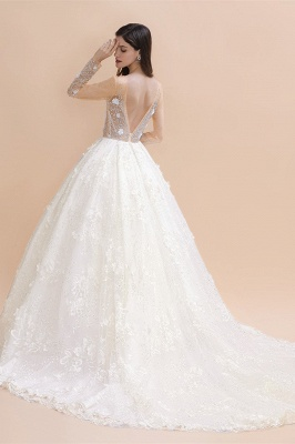 Long Sleeve Jewel Floral A Line Wedding Dresses | Crystal Beading Bridal Gown_3