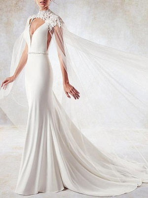 Sexy Mermaid V-Neck Sleeveless Backless Wedding Dress with Side Hollowout_1