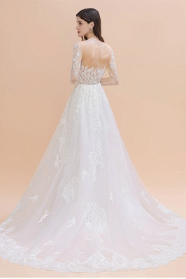Long Sleeve Jewel Applique A Line Lace Wedding Dresses_2