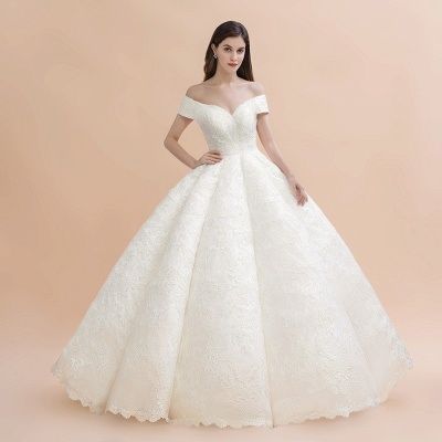 Gorgeous Off The Shoulder Ball Gown Wedding Dress   Lace Backless Bridal Gown_4