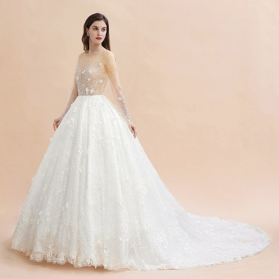 Long Sleeve Jewel Floral A Line Wedding Dresses | Crystal Beading Bridal Gown_11