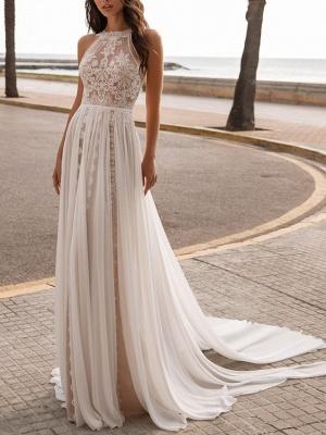 Chic A-Line Ciffon Halter Tulle Lace Sleeveless Wedding Dress_1