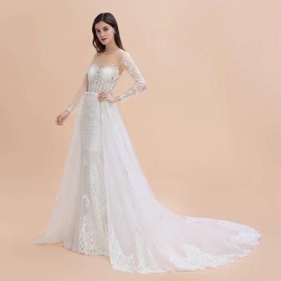 Long Sleeve Jewel Applique A Line Lace Wedding Dresses_11