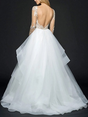 Illusion Ball Gown V Neck Organza Long Sleeve Floor Length Wedding Dresses_2