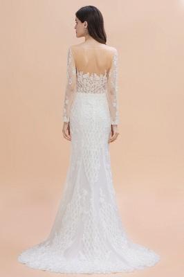 Long Sleeve Jewel Applique A Line Lace Wedding Dresses_4