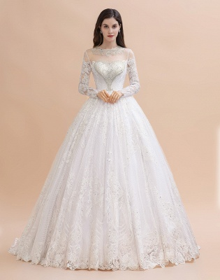 Long Sleeve Jewel Applique A Line Wedding Dresses | Crystal Wedding Gown_2