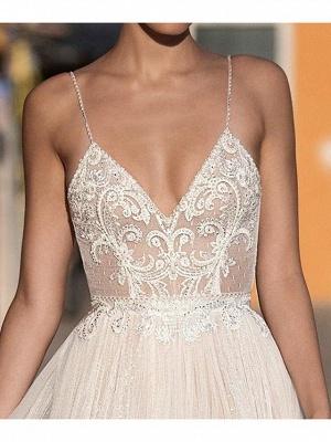 Sexy A-Line Spaghetti Straps Tulle Lace Sleeveless Wedding Dress_2