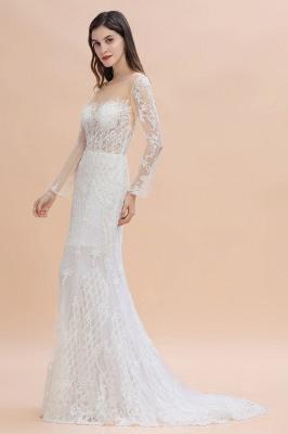 Long Sleeve Jewel Applique A Line Lace Wedding Dresses_6