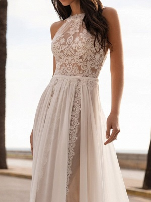 Chic A-Line Ciffon Halter Tulle Lace Sleeveless Wedding Dress_3
