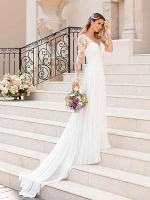 Romantic A-Line V Neck Chiffon Long Sleeve Wedding Dresses with Chapel Train_4