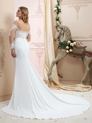 Elegant Jewel Mermaid Chiffon Lace Long Sleeves Wedding Dress with Train On Sale_2