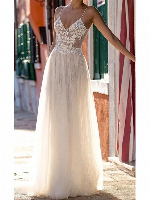 Sexy A-Line Spaghetti Straps Tulle Lace Sleeveless Wedding Dress_1