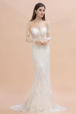 Long Sleeve Jewel Applique A Line Lace Wedding Dresses_5