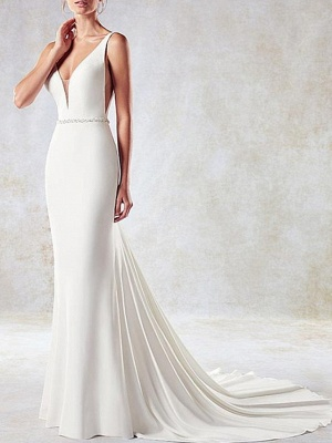 Sexy Mermaid V-Neck Sleeveless Backless Wedding Dress with Side Hollowout_3
