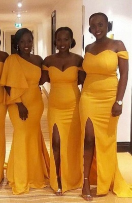 Yellow Off The Shoulder Sheath Bridesmaid Dresses | Bridesmaid Dresses With Slit_2