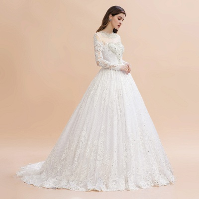 Long Sleeve Jewel Applique A Line Wedding Dresses | Crystal Wedding Gown_7