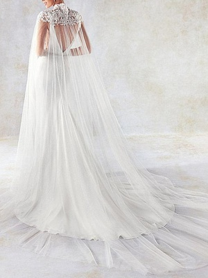 Sexy Mermaid V-Neck Sleeveless Backless Wedding Dress with Side Hollowout_2