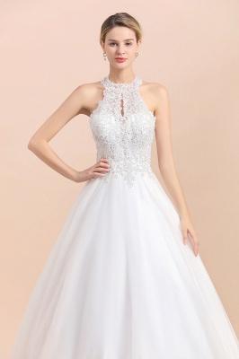 A Line Lace Chiffon Halter White Wedding Dresses Sleeveless_5