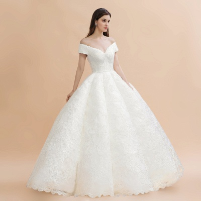 Gorgeous Off The Shoulder Ball Gown Wedding Dress   Lace Backless Bridal Gown_6