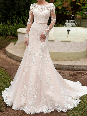 Boho Mermaid Long Sleeve Tulle Lace Wedding Dress with Sweep Train_1