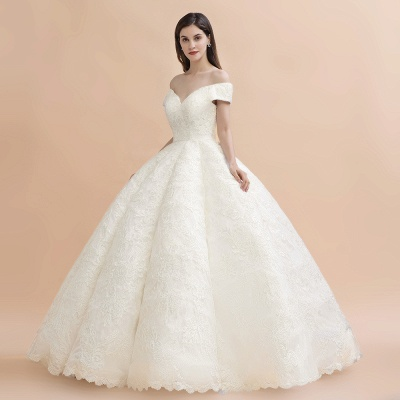 Gorgeous Off The Shoulder Ball Gown Wedding Dress   Lace Backless Bridal Gown_8