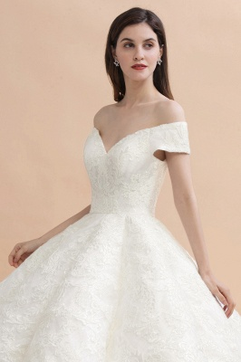 Gorgeous Off The Shoulder Ball Gown Wedding Dress   Lace Backless Bridal Gown_9