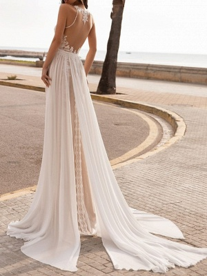 Chic A-Line Ciffon Halter Tulle Lace Sleeveless Wedding Dress_2