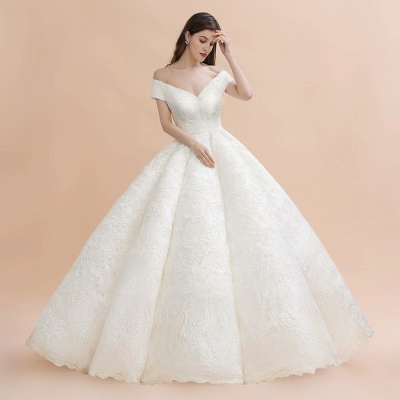 Gorgeous Off The Shoulder Ball Gown Wedding Dress   Lace Backless Bridal Gown_3
