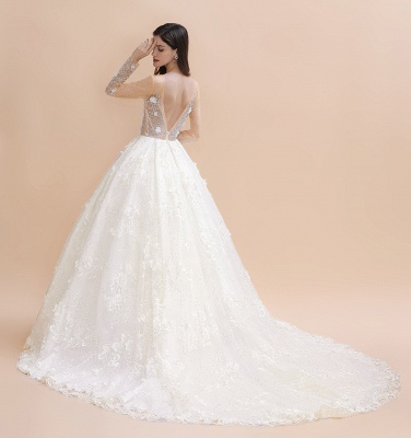 Long Sleeve Jewel Floral A Line Wedding Dresses | Crystal Beading Bridal Gown_10