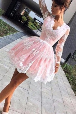 Pink Long Sleeve Lace Short A Line Homecoming Dresses_1