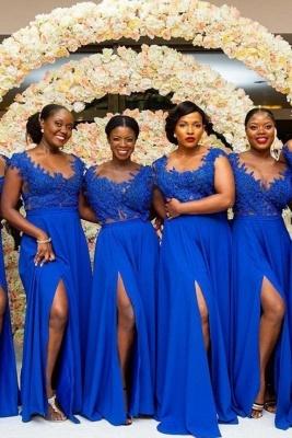 Royal Blue Straps A Line Bridesmaid Dresses | Applique Front Slit Prom Dresses_2
