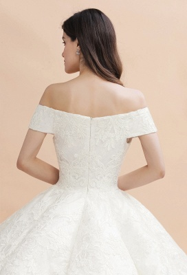 Gorgeous Off The Shoulder Ball Gown Wedding Dress | Lace Backless Bridal Gown_11