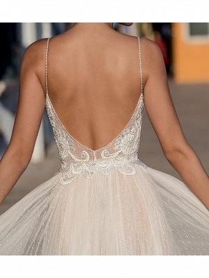 Sexy A-Line Spaghetti Straps Tulle Lace Sleeveless Wedding Dress_4