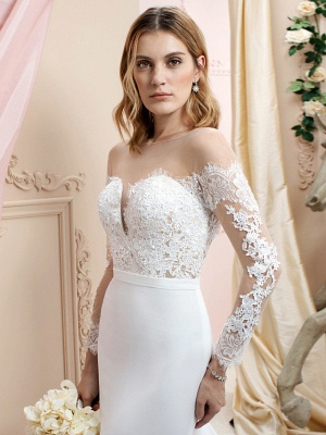 Elegant Jewel Mermaid Chiffon Lace Long Sleeves Wedding Dress with Train On Sale_3