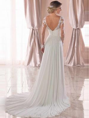 Romantic A-Line V Neck Chiffon Long Sleeve Wedding Dresses with Chapel Train_2