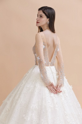 Long Sleeve Jewel Floral A Line Wedding Dresses | Crystal Beading Bridal Gown_4