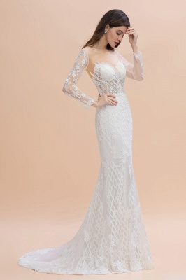 Long Sleeve Jewel Applique A Line Lace Wedding Dresses_3
