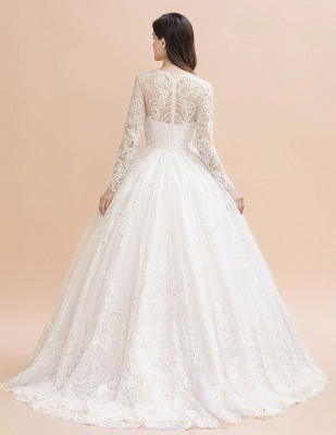 Long Sleeve Jewel Applique A Line Wedding Dresses | Crystal Wedding Gown_3