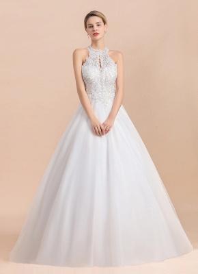 A Line Lace Chiffon Halter White Wedding Dresses Sleeveless_6
