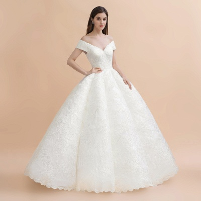 Gorgeous Off The Shoulder Ball Gown Wedding Dress   Lace Backless Bridal Gown_7